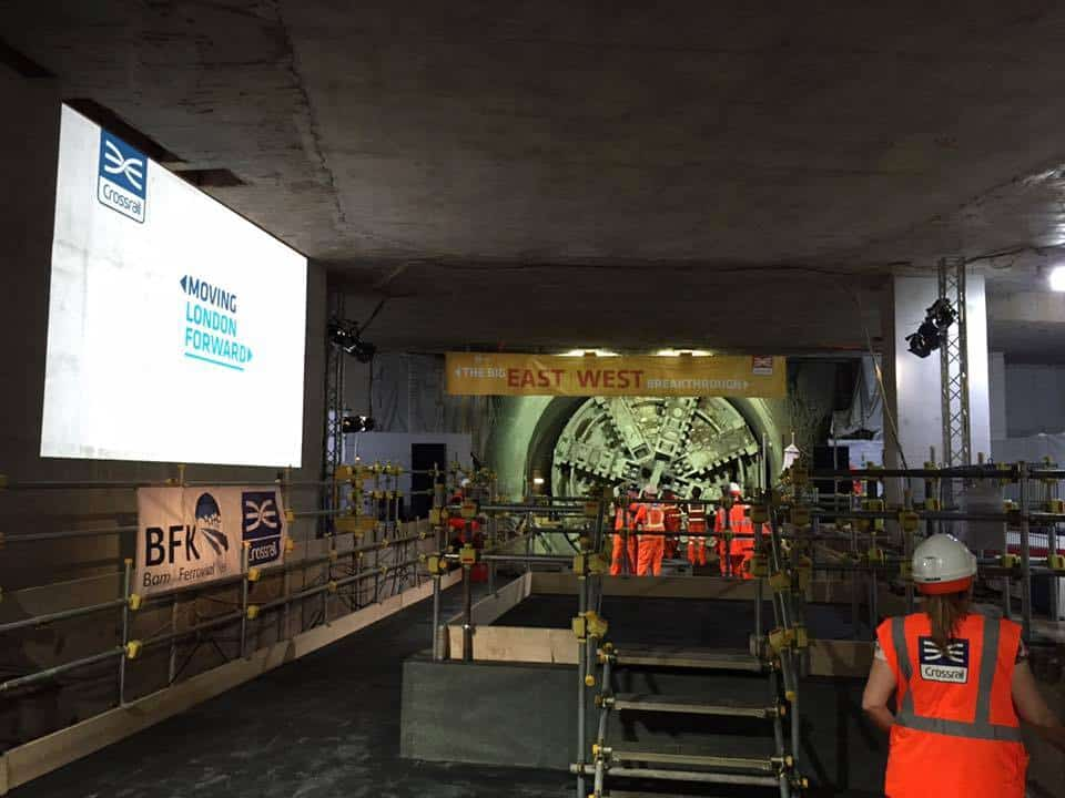 Crossrail break through event 2015 vortex events projector hire Vortex Events