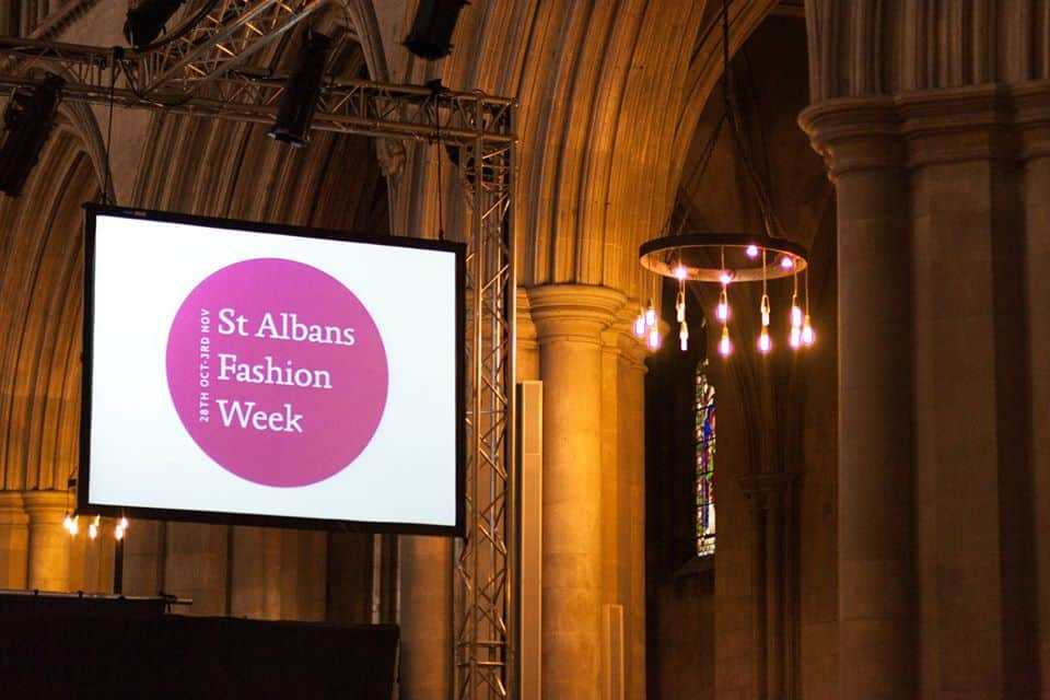 st.albans fashion week show projection screens full size Vortex Events