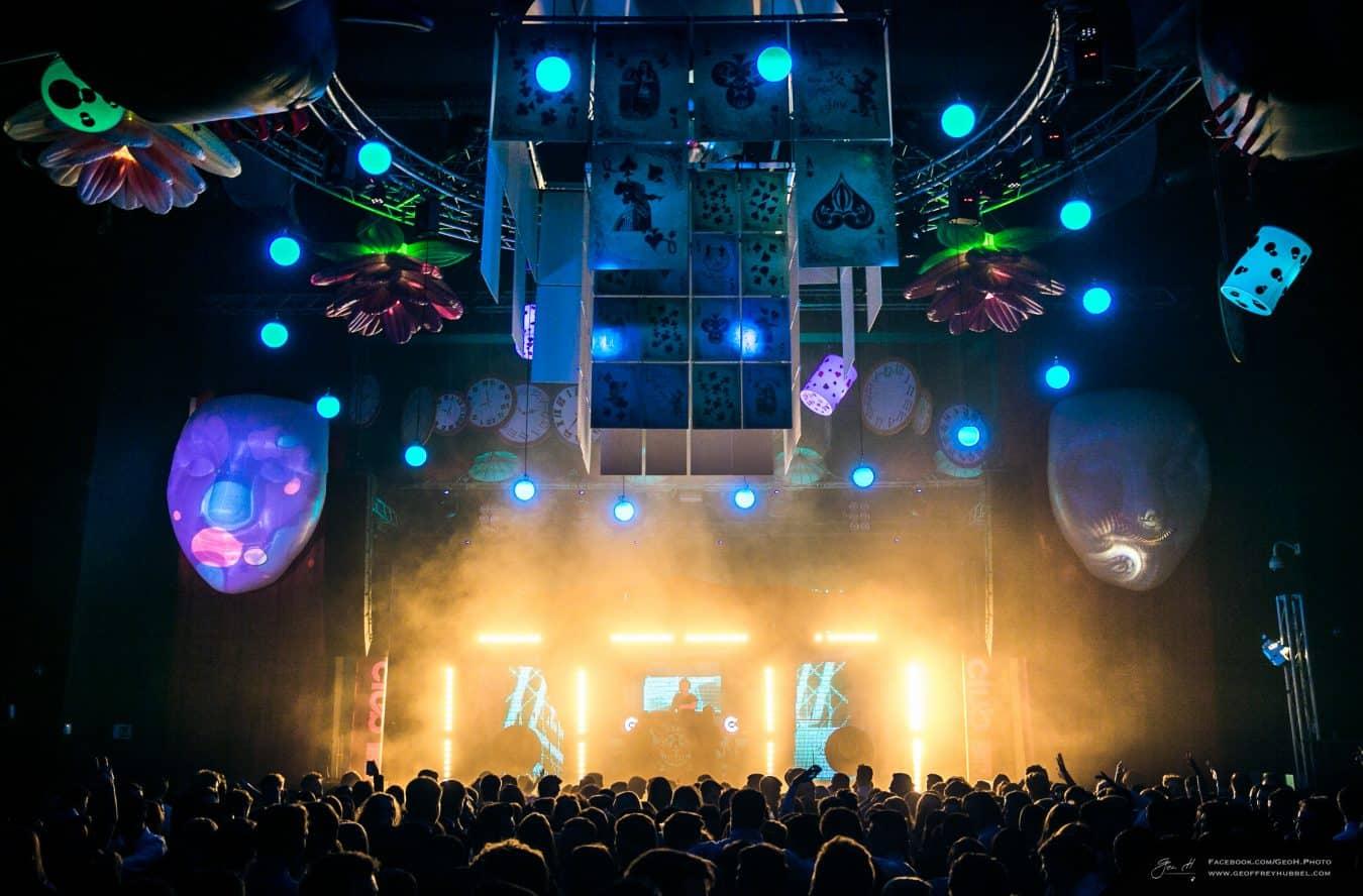 Dmx Winches Lighting Hire Stealth LED Screen Hire University Hertfordshire Summer Ball 2016 Alice In Wonderland Nightclubs Vortex Events